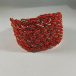 Lucky Brand Red Silver Thread Braided Bracelet